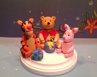 Polymer clay polar bear cake topper,cake toppers,handmade, Winnie the Pooh,Tigger, Piglet,Birthday parties,kids party,party decor,cake decor