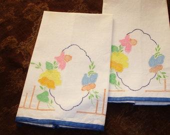 Tea Towels with Applique detailing, Linen Tea Towels, Set of Two, Pastel Shades, Cottage chic decor, circa 1980s