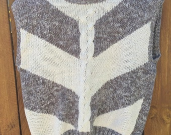 Chevron Heather and Tan Sweater-Vest