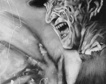 Freddy Krueger, Black & White, Portrait, Art, Original Painting, Movie, Horror, Nightmare on Elm Street, Halloween