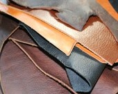 8 pounds of Genuine Leather Scraps - Leather Remnants - brown black tan natural leather - will ship priority