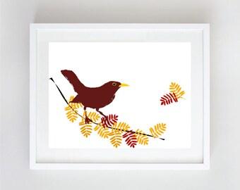 Fall season art - Bird, Autumn, Bird Wall Art, Instant Download, Autumn Printable, Wall Decor, Digital Print, Nursery Art