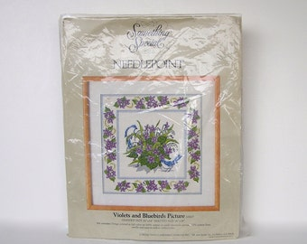 Vintage Needlepoint Kit .Violets and Bluebirds . 14 x 14 . Something Special . opened