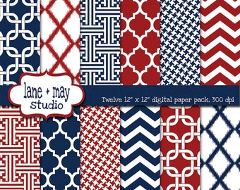 red, white and navy blue modern chevron, houndstooth and ikat patterns - digital scrapbook papers - INSTANT DOWNLOAD
