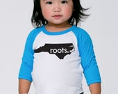 North Carolina 'Roots' or 'Made' Baby Toddler Kids Poly Cotton 3/4 Sleeve Baseball Shirt - Baby Shirt