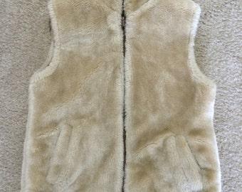 Vintage Faux Fur Faux Leather Reversible Vest