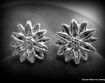 Recycled Silver, Sunflower, Earrings, Eco Friendly, Gift