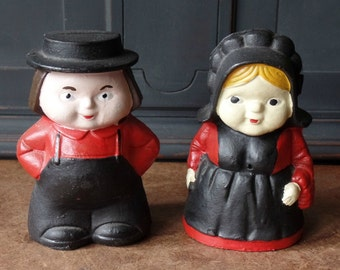 Vintage Amish Collectible Banks, Cast Iron, Pennsylvania Dutch, Red, Black, Home Decor, Minatures, Figurines