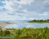 "Chappaquiddick - original small oil painting, Island Breach by Adrienne Kernan La Vallee, 9""X12"" gallery wrap canvas. Art & Collectibles"