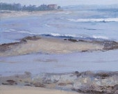 """STUDIO EVENT! Ebb Tide oil painting, original, Maine coast, 4""""X4"""" deep sided  wood panel by Adrienne Kernan LaVallee Art & Collectibles"""