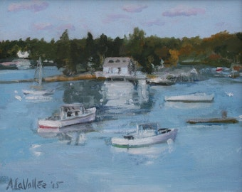 "Boothbay Harbor, oil painting, expressive, original, Maine coast, 8""X10"" unframed canvas by Adrienne Kernan LaVallee Art & Collectibles"