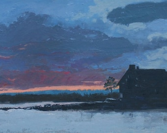 "STUDIO EVENT! Twilight  at Parson's Beach, Wells Kennebunk, Maine Oil Painting, original wall art , 12""X 24"" by Adrienne Kernan LaVallee"