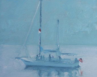 "STUDIO EVENT! Peaceful Moored  Sail Boat oil painting, 4""X4"" deep cradled wood panel  by Maine artist Adrienne Kernan LaVallee"