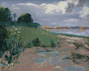 "Sunset, Biddeford Pool. Oil painting, expressive, original, 8""X10"" unframed canvas, Maine artist Adrienne Kernan LaVallee Art & Collectibles"