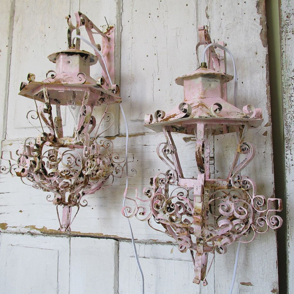 Vintage Wall Sconces Electric: Salvaged Electric Lantern Wall Sconces Vintage By