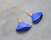 Blue silk and leather necklace with long thin chain gilded 24K for women