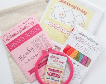 Embroidery Kit | DIY Embroidered Handkerchief Kit for Hand Embroidery - Perfect Wedding Gift, Christmas Gift