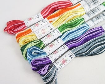 Embroidery Floss Set - Sublime Stitching Taffy Pull Sublime Floss Pack | 7 Ombre Embroidery Thread Skeins for Hand Embroidery, Cross Stitch