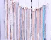 Shabby Wedding Banner Beach Wedding Vintage Garden Party Boho Fairytale Baby Shower Tea Party Photo Prop Bridal Shower Aqua Peach Grey Cream