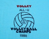 Vintage 1988 All-U UCF Volleyball Champs T-Shirt M/L Screen Stars 50 50 Cotton Poly Blend