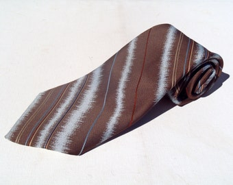 Vintage 1970s Wide Brown Polyester Tie with Blue Diagonal Stripes by Sears Mens Store