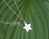 10K, 14K or 18K or Sterling Silver - Hand Engraved Star Charm Neckalce - Script Initial - Yellow, Rose or White Gold