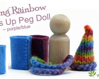 Waldorf dress-up peg dolls - Spring Rainbow. Blue & Purple design. Rainbow gnome doll. Handmade in Australia. FREE Shipping Australia