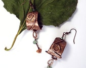 The Forest Sings - Copper Amulet Earrings - Aventurine, Recycled Copper, Hammered metal, goddess, artisan, forest, nature, OOAK