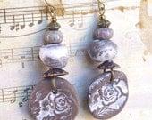 Rustic Flowers, Earthy Jewelry, Boho Dangle Earrings, Flower Drop Earrings, Natural ceramic, Floral Boho Chic Jewellery, Brown White jewelry