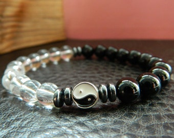 925 Sterling Silver BLACK And WHITE Yin Yang Charm Beaded Bracelet.Healing.Balancing.Gift