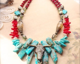 Western Necklace, Double Strand Necklace, Christian Jewelry, Chunky Cowgirl Necklace, Turquoise Jewelry, Boho, Cowgirl Bling *FINLEE*