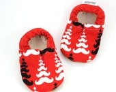 SALE -LAST PAIR - 6-12 mos //  christmas baby shoes mustache booties baby christmas clothing vegan baby shoes mustache christmas shoes