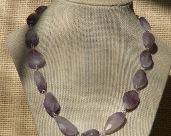 Semi-Precious Amethyst Nugget Necklace