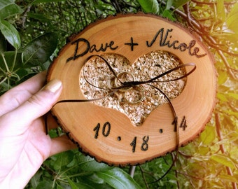 Wedding Ring Bearer Pillow Wooden Heart Customized Ring Bearer For Rustic Country Weddings