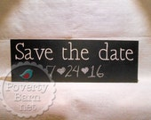 Save the Date Hand Painted Wood Box Sign Chalkboard Wedding Engagement Photo Prop