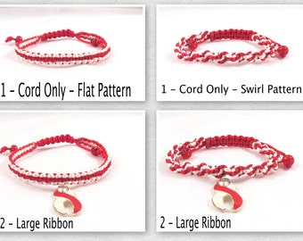 Red and White Awareness Bracelet, Macrame, Custom, Aplastic Anemia, DVT, Head and Neck Cancer, Oral Cancer, Squamous Cell Carcinoma