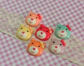 6 pcs Baby Bear Cabochons, Mixed Assorted Color Bear Doll with Bow Cabochon,  Flatback, Baby bear cabochons