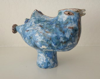 STRANGE Artisan-made Ceramic Blue Bird Vase/Sculpture/Statue, Scandinavian-Influenced?