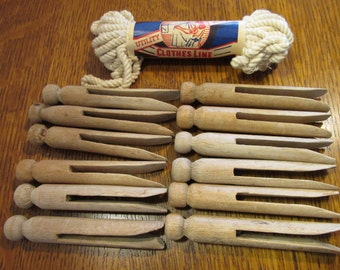 Vintage Wooden Clothes Pins and Clothes Line