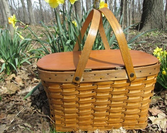 Vintage Woven Wood Picnic Basket and DIshes