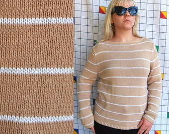 BUSCUIT Striped 90s Long Sleeve Knit Brown Tan Large White Block Striped Womens Sweater