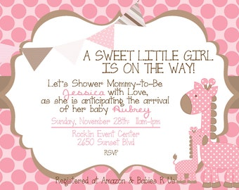 Mommy & Me Giraffe Baby Shower Invitation