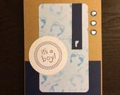 It's a boy! Blue baby feet card