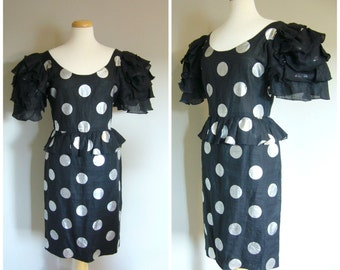 VIntage DOTTY DRESS by Beatrice di Barbone Roma/size Small Medium