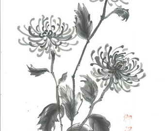 "Original Art ""Three Chrysanthemums"" - Japanese sumi-e - asian art- Wall decor - home decor - black and white - minimalist art - gift for her"