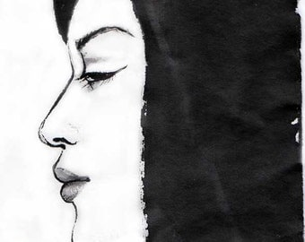 "Original Art ""Profile of a Girl""  - in Japanese style - sumi-e drawing with wash ink - Wall decor - bamboo brash on rice paper"