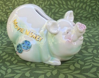 Ceramic Piggy Bank  With Cork  Movie Money
