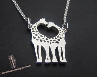 Love Giraffe Necklace, Sterling Silver Necklace, Pendant Necklace, Jewelry, Gift