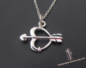 Arrow Heart Necklace, Sterling Silver Necklace, Arrow Necklace, Pendant Necklace, Jewelry, Gift