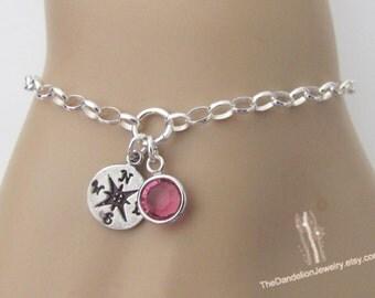 Compass Bracelet with custom Birthstone, Birthstone Bracelet, Sterling Silver Bracelet, Enjoy the Journey, Travel Jewelry, Gift
